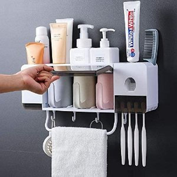 Automatic Toothpaste Dispenser Wall Mounted with Toothbrush Holder