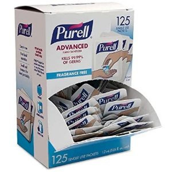 PURELL SINGLES Advanced Hand Sanitizer Gel, Fragrance Free, 125 Count Single