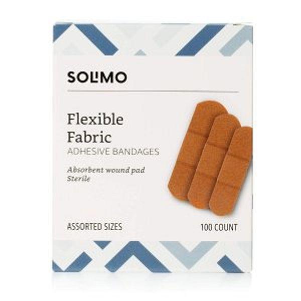 Amazon Brand - Solimo Flexible Fabric Adhesive Bandages, Assorted Sizes, 100 Count