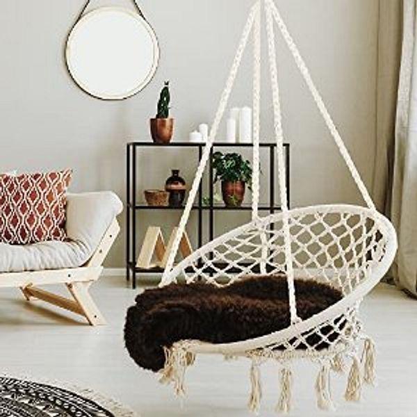 WBHome Hammock Chair Swing w/Hardware Kit Max Weight 265 Lbs (Beige)