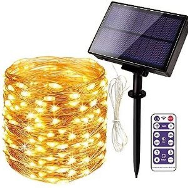 HueLiv Solar String Lights Outdoor Waterproof, 65FT 200 LED