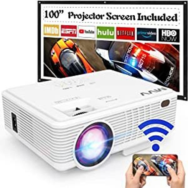 """MVV 1080p Wi-Fi Projector with 100"""" Screen"""