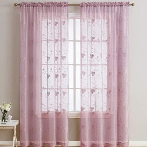 """HLC.ME Allegra Floral Vine Embroidered Sheer VoileWindow Curtain Drapery Rod Pocket Top Panels for Kitchen & Dining Room, Set of 2 54""""W x 54""""L"""