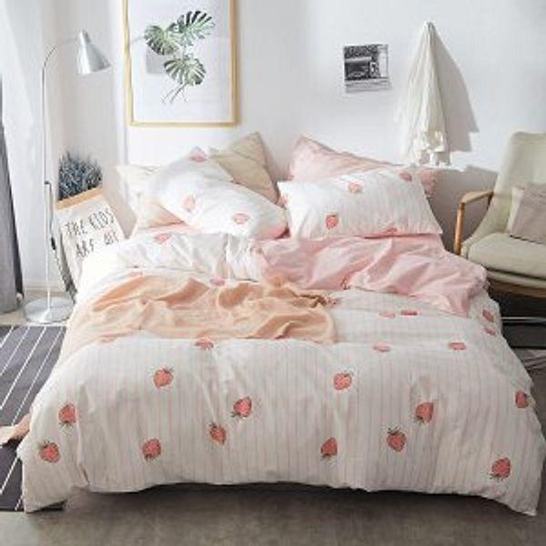 AOJIM 100% Cotton-Super Cute & Soft Kawaii Strawberry Bedding Set 3 PCS