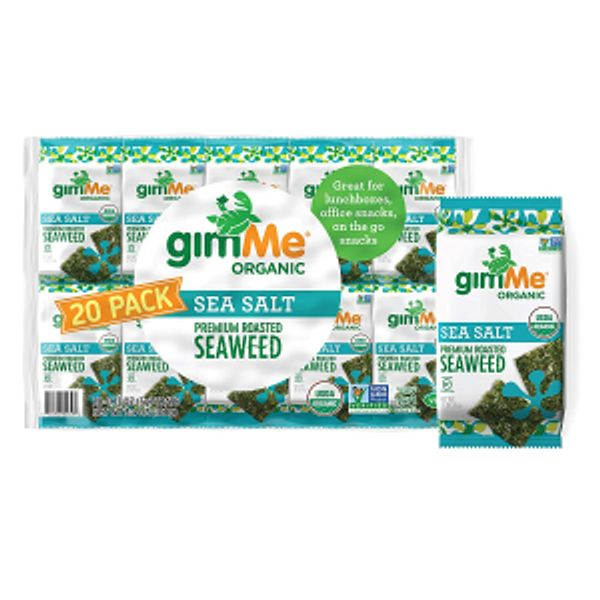gimMe Organic Roasted Seaweed Sheets - Sea Salt - 20 Count