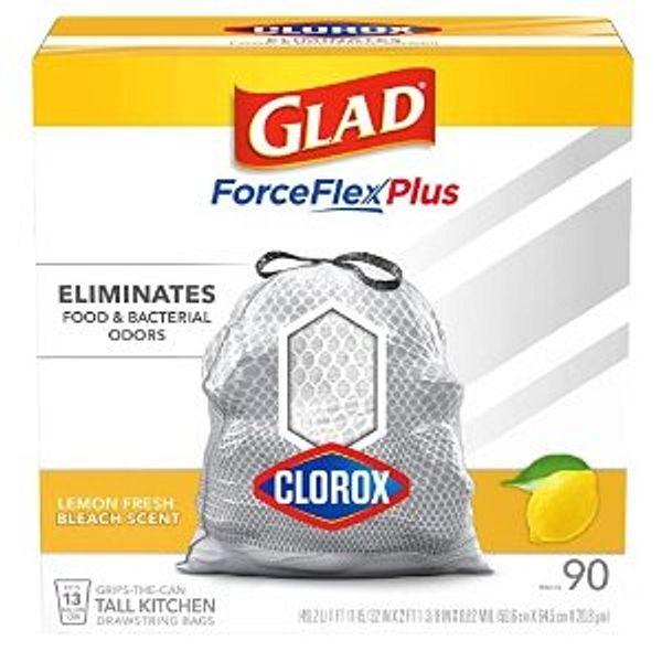 GLAD Tall Kitchen Trash Bags ForceFlex Plus with Clorox, 13 Gallon