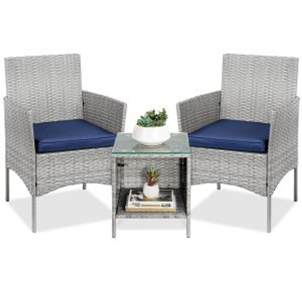 Best Choice Products 3-Piece Outdoor Patio Wicker Bistro Set w/ Side Storage Table