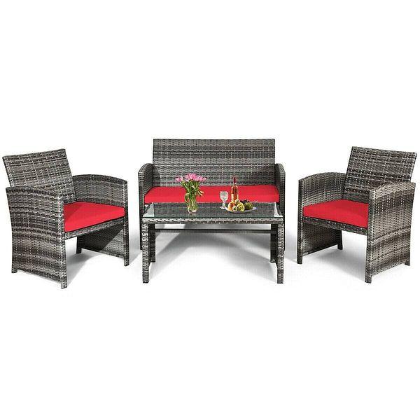 Costway 4PCS Patio Rattan Furniture Set