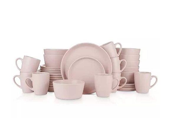 Sam's Club Members: 32-PC Stone Lain Albie Stoneware Dinnerware Set (8 place settings) Pink $50 + Shipping