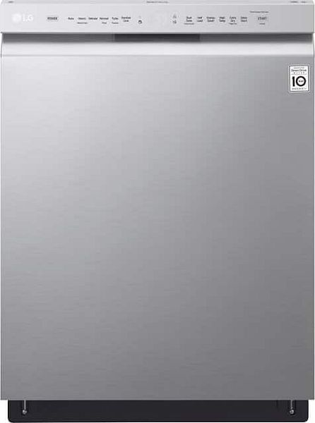 """LG - 24"""" Front-Control Built-In Dishwasher with Stainless Steel Tub, QuadWash, 48 dBa - Stainless steel YMMV $409.99"""