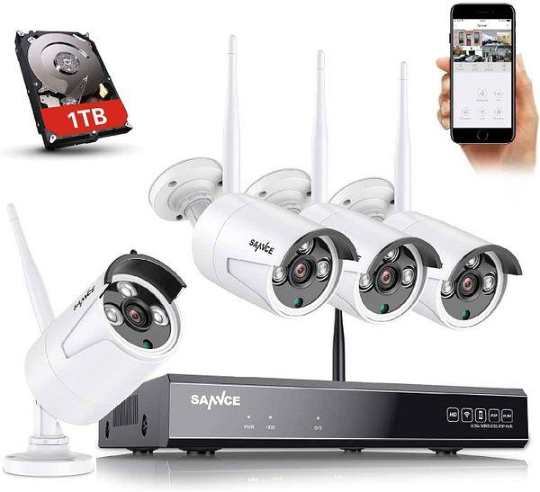 SANNCE Wireless 8CH 5MP NVR, 4X 2K/3MP Outdoor Metal Wireless IP Cameras