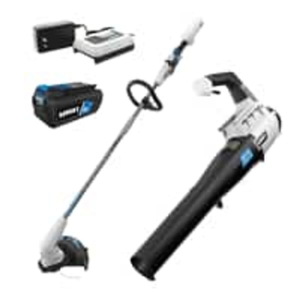 """HART 40-Volt 12"""" String Trimmer and Turbo Fan Blower (2-Tool) + 4Ah Battery w/ Charger"""