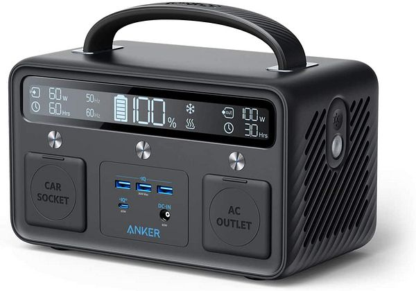 Anker Portable Power Station, 300W/388.8Wh, 110V AC Outlet/60W USB-C Power Delivery Solar Generator