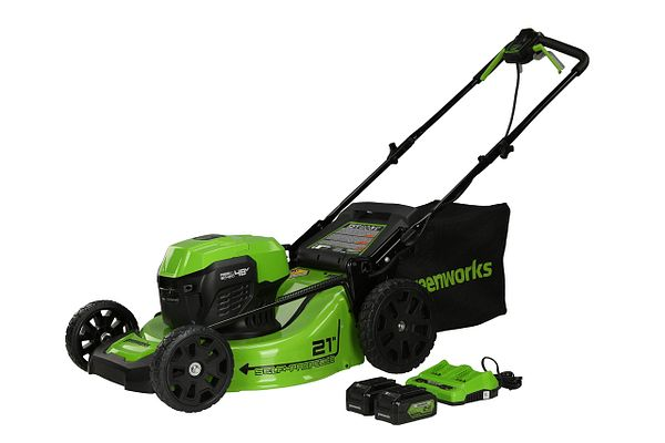 Greenworks 2 x 24V (48V) 21 inch Brushless Self-Propelled Mower, (2) 5Ah USB Batteries and Dual Port Charger, MO48L520