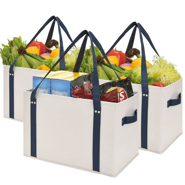 Reusable Heavy Duty Shopping Bags, Washable Large Storage Bins, 3-Pack, $13.49 + Free Shipping