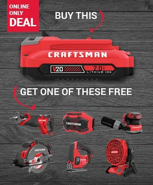 Free Power Tool of your choice with purchase of Craftsman Battery Starter Kit for $79.00 (reg. $129.99)