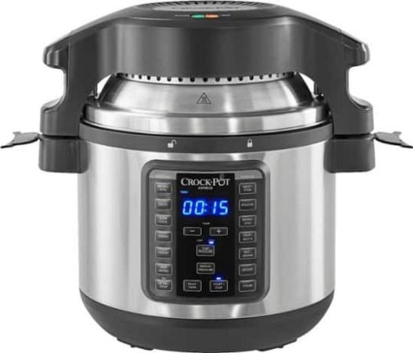 Crock-Pot - 8-Qt. Express Crock Programmable Slow Cooker and Pressure Cooker with Air Fryer Lid - Stainless Steel $79.99