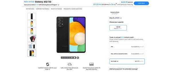 Samsung Galaxy A52 5G $424.99 ($75 OFF) NO TRADE-IN Samsung.com