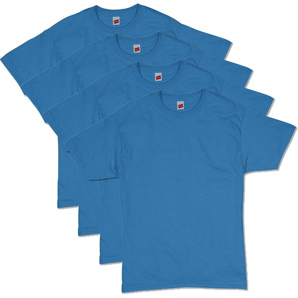 Hanes Men's ComfortSoft Short Sleeve T-Shirt (Denim Blue 4 Pack)