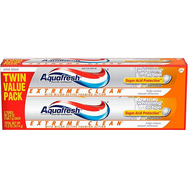 2-Pack 5.6-Oz Aquafresh Extreme Clean Whitening Action Fluoride Toothpaste $3.30 w/ S&S + Free Shipping w/ Prime or on $25+