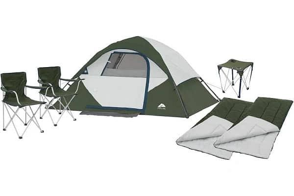 Ozark Trail 4-Person Tent + 2 Foldable Chairs + 2 Sleeping Bags + 1 Portable Travel Table (6-Piece Combo Bundle) $89.00 With Free 2-Day Shipping @ Walmart.com