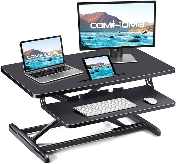 ComHoma Standing Desk Converter (Adjustable Height) 34 Inch Sit to Stand with Keyboard Mouse Deck