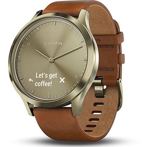Garmin Vivomove HR Smartwatch w/ Leather Band (Gold Tone)