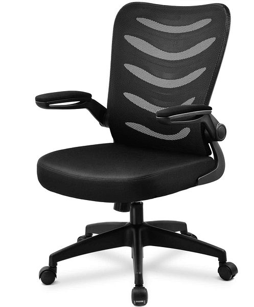 COMHOMA Mid Back Mesh Office Chair Ergonomic Swivel Black Mesh Computer Chair Flip-Up Arms
