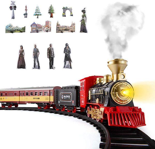 SNAEN Train Sets w/ Steam Locomotive Engine, Cargo Car and Tracks, Battery Powered Play Set Toy w/ Smoke, Light & Sounds