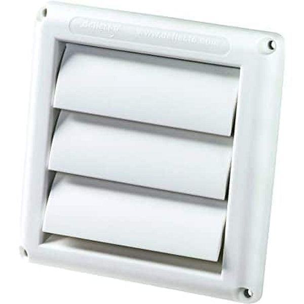 """Deflecto Supurr-Vent Louvered Outdoor Dryer Vent Cover, White, 4"""""""