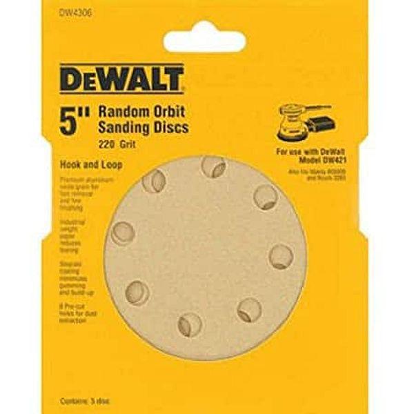"""5-Pack DeWalt 5"""" 8 Hole 220 Grit Hook and Loop Random Orbit Sandpaper $3.35"""