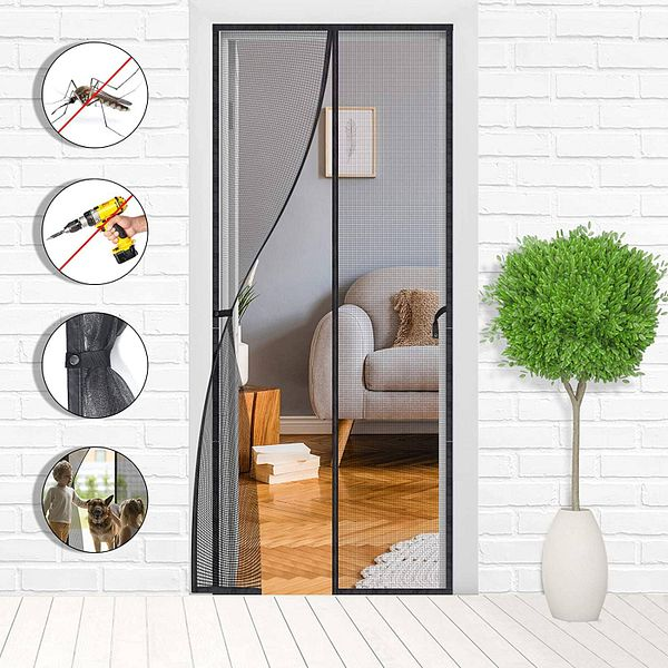 Magnetic Screen Door - Mesh Net Doors with Magnet - 39 x 83 inches Durable Fiberglass Sliding Black Screen Curtain with Full Frame for Patio and Doorway