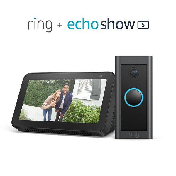 Prime Members: Ring Video Doorbell Wired Doorbell + Echo Show 5 (Black)