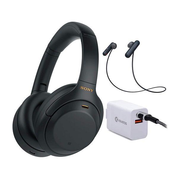 Sony WH-1000XM4 Wireless Noise Canceling Over-Ear Headphones (Black) + Sony WI-SP500 In-Ear Sports Wireless Headphones + 30W PD 2-Port Power Adapter