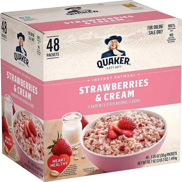 Prime Members: 48-Ct Quaker Instant Oatmeal Packets (Strawberries and Cream)