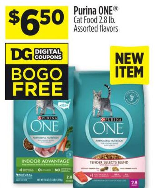 Dollar general in store, 2.8lb Purina ONE cat food, Buy one Get one free with digital coupon (up tpo $6.50)