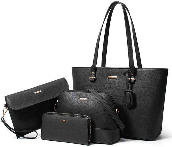 Handbags and Purse for Women Fashion gift Handbags Tote Bag Shoulder Bag Top Handle Satchel Set 4pcs (A Black)