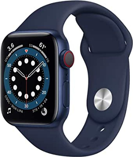 Amazon New Apple Watch Series 6 (GPS + Cellular, 40mm) - Blue Aluminum Case with Deep Navy Sport Band