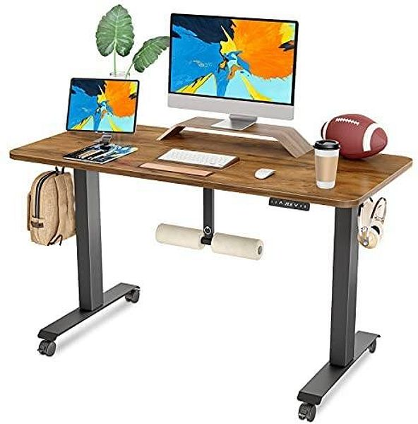 FAMISKY Dual Motor Adjustable Height Electric Standing Desk with Footrest, 48/55 Inches