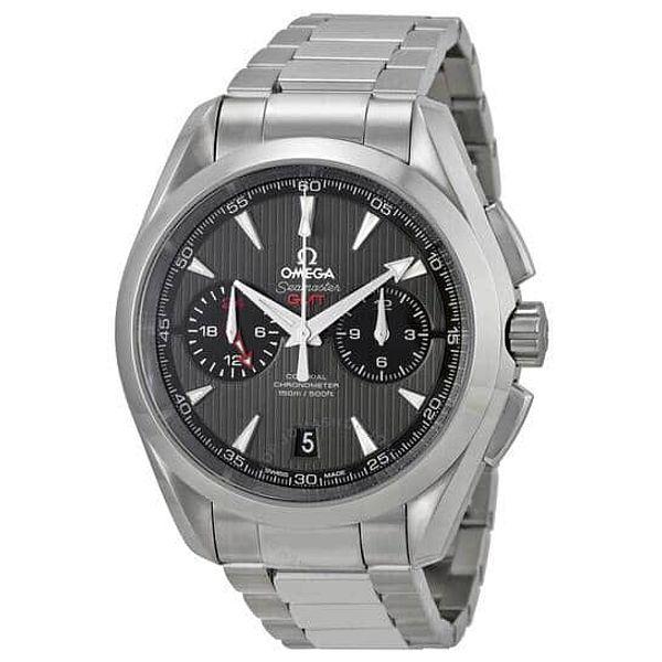 OMEGA Seamaster Aqua Terra Chronograph GMT Automatic Chronometer Grey Dial Men's Watch