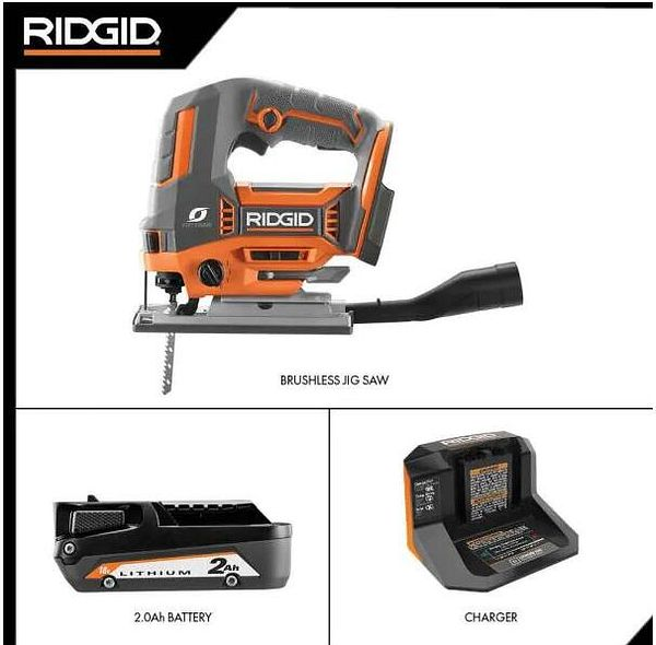 18V OCTANE Brushless Cordless Jig Saw Kit with Dust Port, (1) 2.0 Ah Battery and Charger by RIDGID @HomeDepot