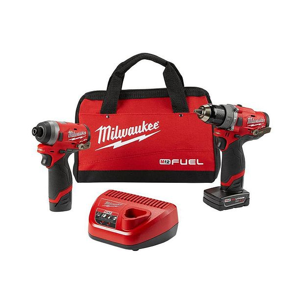 Milwaukee M12 FUEL 12-Volt Lithium-Ion Brushless Cordless Hammer Drill and Impact Driver Combo Kit w/ 2 Batteries and Bag (2-Tool)-2598-22
