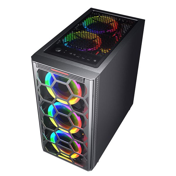 ESGAMING  Over-size  Micro ATX  Gaming Case with Sliding Tempered Glass Side Panel, Pre-Installed 4 X 120mm Rainbow Fans
