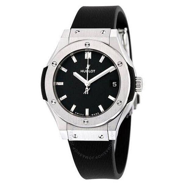 HUBLOT Classic Fusion Titanium Black Dial Black Rubber Ladies Watch 581NX1171RX
