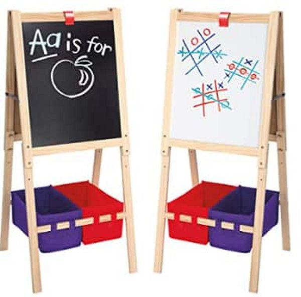 Cra-Z-Art Kids' 3-in-1 Standing Easel w/ Chalk Board, Dry Erase Board & Storage Bins